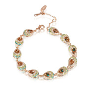 Fashion Plaza Drop pendant bracelet Use green Blue. crystal 8inch-22cm B55
