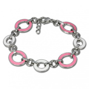 Amello Stainless Steel bracelet oval with enamel pink and white - size 18cm by 2cm extension - Woman bracelets - Stainless Steel carabiner closure ESAG01P