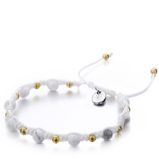 Shimla SH 906 Howlite TS Bracelet with Gold Plated Brass Beads and Stainless Steel Shimla Tag