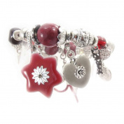 "Bracelet of 'french touch' ""Jardin Japonais"" red cherry."