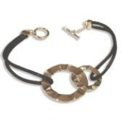 Sterling Silver Ripple Circle Bracelet with Black Silky Cord and toggle clasp