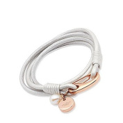 Unique Pearl Leather & Stainless Steel Rose Gold Plating Bracelet