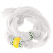 Ribbon bracelet made with. ELEMENTS - with three Rondelles and one Pearl Crystal Neon Yellow