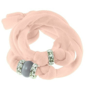 Ribbon bracelet made with. ELEMENTS - with three Rondelles and one Pearl Crystal Dark Grey