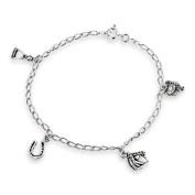 Bling Jewellery Horseshoe Equestrian Horse Charm Bracelet 925 Sterling Silver 20cm
