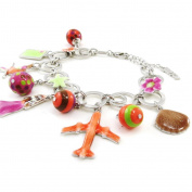"""Bracelet 'french touch' """"Vahiné"""" pink orange brown."""