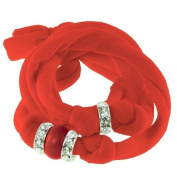 Ribbon bracelet made with. ELEMENTS - orange with three Rondelles and one Red Coral Pearl