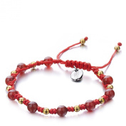 Shimla SH 903 Red Agate TS Bracelet with Gold Plated Brass Beads and Stainless Steel Shimla Tag