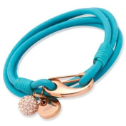 Turquoise Leather Rose Stainless Steel & Crystal Ball Bracelet B153Tr