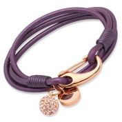 'Unique' Purple Leather Rose Stainless Steel & Crystal Ball Bracelet B153BE