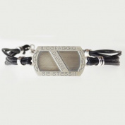 "EveryDayGioielli Bracelet 925 silver, burnished, cerato black string ""the courage to be themselves sew"""