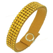 Crystals United luxury leather Mesh Bracelet - made with. ELEMENTS, Topaz