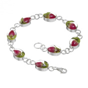 Silver Bracelet made with real rose buds - Oval - includes giftbox