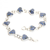 Silver Bracelet made with real forget-me-nots - Hearts - includes giftbox
