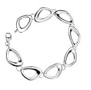 Elements Sterling Silver B3331 Ladies' Cut Out Pebble Shape Linked Bracelet