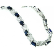 Luxury Sterling 925 Silver Large Modern Designer Blue Stone Set 19cm Inch Bracelet for Women / Ladies - Ideal for Christmas, Birthday, Anniversary or Mothers Day Gift