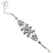 Vintage Floral Bracelet with over 50 AB Tanzanite and 76 Tanzanite Colour. Crystals - A great accessory, Rhodium Plated
