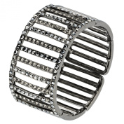 Gemini London Jewellery. Crystal Cuff Adjustable Bracelet, Linear lines of Black .  Crystals on Rhodium Plated Metal, Antique Silver finish