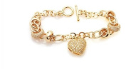 Simply Glamorous Jewellery And Gifts Shop - 18ct Gold Filled T Bar Belcher Bracelet Heart Charm