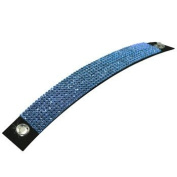Luxury Leather - Mesh Bracelet - made with. ELEMENTS 8 rows Sapphire (206) - Leather black