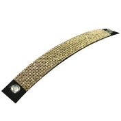 Luxury Leather - Mesh Bracelet - made with. ELEMENTS 8 rows Crystal Golden Shadow (001 GSHA) - Leather black