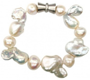 Unique Giant Baroque White pearl bracelet with an attrative magnetic clasp, presented in a pretty satin silk pouch with a gift card