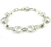 """Slender Solid Sterling 925 Silver Horse Bit Snaffle Bracelet 19cm / 7.4"""""""