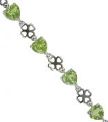 Peridot Heart Clover Sterling Silver Bracelet