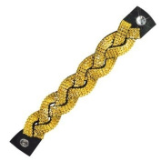 Luxury Leather Braided Mesh Bracelet 513237 made with. ELEMENTS 12 rows Sunflower (292) leather black