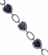 Amethyst Heart Adjustable Hallmarked Sterling Silver Bracelet