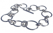 Handmade 925 Sterling Silver Wire Circle Hoop and Oval Bracelet. Gift Wrapped