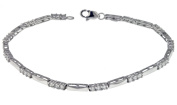 """9ct White Gold Cubic Zirconia and Bar Link Bracelet 19cm/7.5"""""""
