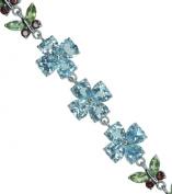 Blue Topaz Peridot Garnet Butterfly Adjustable Hallmarked Sterling Silver Bracelet