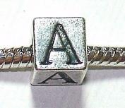 A - Initial Letter - Silver Plated Charm Bead - fits Pandora, Chamilia etc style Bracelets - SpangleBead