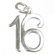 16 sterling silver charm .925 x 1 Birthday Age Number Sixteen charms DKC53029