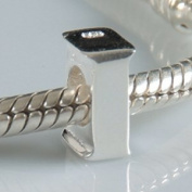 I - Initial Letter - Sterling Silver Charm Bead - fits Pandora, Chamilia etc style Bracelets - SpangleBead