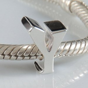 Y - Initial Letter - Sterling Silver Charm Bead - fits Pandora, Chamilia etc style Bracelets - SpangleBead