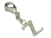 """Clipart Charms Character """"Z"""" with rhinestone ,silver plated, approx. 11mm"""