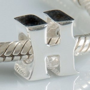 H - Initial Letter - Sterling Silver Charm Bead - fits Pandora, Chamilia etc style Bracelets - SpangleBead