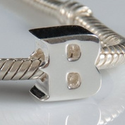B - Initial Letter - Sterling Silver Charm Bead - fits Pandora, Chamilia etc style Bracelets - SpangleBead