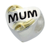 Sterling Silver & 9ct Gold Charm Bead - MUM Heart - For Pandora Style Bracelets