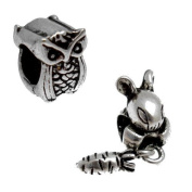 Acosta Beads - Antique Bunny Rabbit & Owl Spacers - Slide on & Off Bead Charms / Set of 2