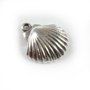 3D 925 Sterling Silver Charm - Scallop Shell - FREE UK POSTAGE