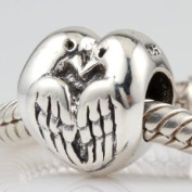 Two Turtle Doves - Sterling Silver Charm Bead - fits Pandora, Chamilia etc style Bracelets - SpangleBead