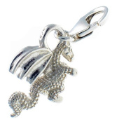 Welded Bliss Sterling 925 Solid Silver Dragon Charm or Pendant with Lobster Clip Fitting WBC1340