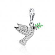 Dove Clip Charm .925 Sterling Silver clip on Charm for Charm Bracelets with. Crystal Elements