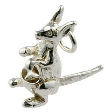 Welded Bliss Sterling 925 Silver Kangaroo with a Moving Baby Joey in Pouch. WBC1101