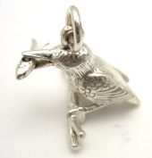 Welded Bliss Sterling 925 Silver Kingfisher Bird Charm with Moving Fish in Mouth. WBC1077