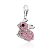 Sterling Silver Pink Rabbit Clip on Charm for Charm Bracelets with. Crystal Elements