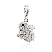 .925 Sterling Silver Rabbit Clip on Charm for Charm Bracelets with. Crystal Elements